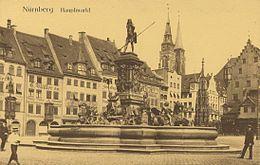 Nuernberg Hauptmarkt Neptunbrunnen um 1905 001.jpg