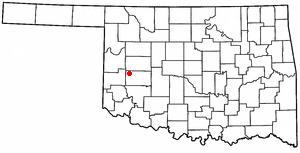 Canute, Oklahoma - Image: OK Map doton Canute