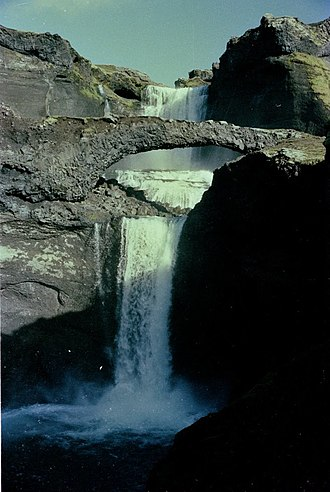 Ófærufoss - Ófærufoss with natural bridge in 1984.