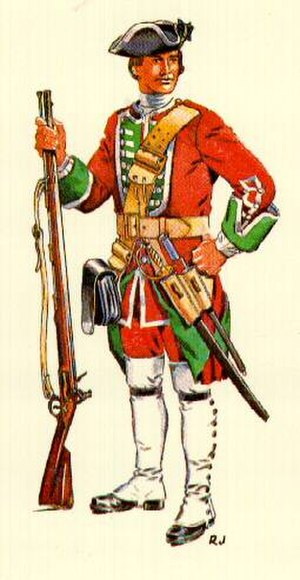 "Oglethorpe's Regiment - Painting of a Private, 1737–1749, of Oglethorpe's Regiment of Foot (The ""Old 42nd"")."