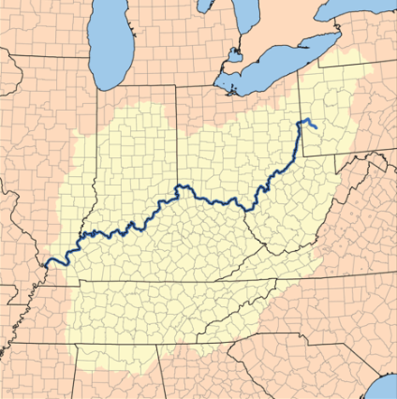 Drainage basin of the Ohio River, part of the Mississippi River drainage basin Ohiorivermap.png