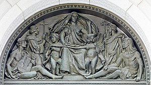 Writing - Olin Levi Warner, tympanum representing Writing, above exterior of main entrance doors, Thomas Jefferson Building, Washington DC, 1896.