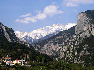 The mythical Mount Olympus in northern Greece....
