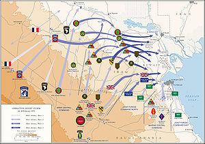 Kort over landfasen af Operation Ørkenstorm