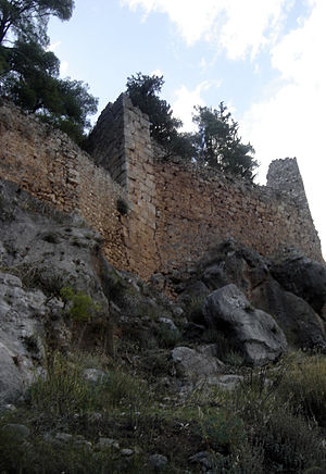 "Amfissa - View of the medieval castle (""Orias"")."