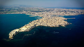 View of Syracuse with Ortygia in the foreground