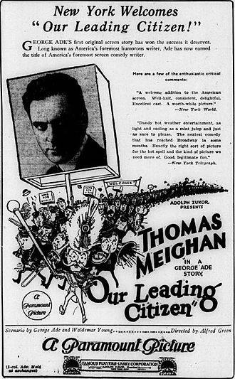 Our Leading Citizen (1922 film) - Advertisement