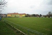 Overview of soccer playfield in Budišov, Třebíč District.jpg