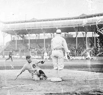 Donie Bush - Bush sliding into third base in Chicago, 1909.