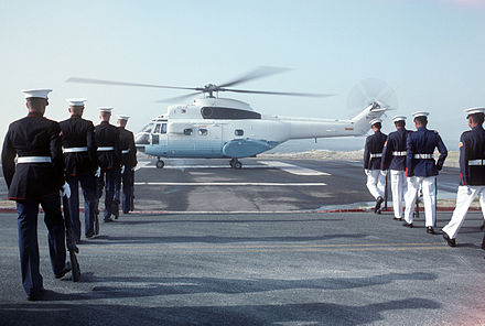 An Aerospatiale SA-330 Puma carrying President Corazon C. Aquino at Subic Bay Naval Base. PAF-Puma-at-Subic-Bay.JPEG