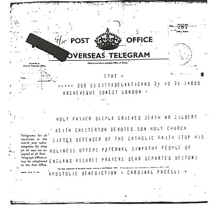 Telegram sent by Cardinal Eugenio Pacelli (the future Pius XII) on behalf of Pope Pius XI to the people of England following the death of Chesterton PPXI.jpeg
