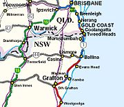 From Brisbane, Pacific Motorway M1 (blue for motorway sections) follows the Pacific coast until Coolangatta where it then follows southwards (red), through the NSW North Coast ...
