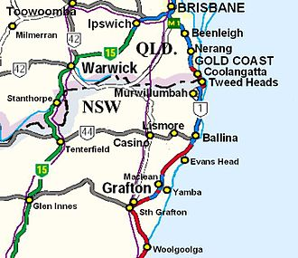 New England Highway - From Brisbane, National Highway 15 (green) follows the Cunningham Highway until Warwick where it then follows southwards, the New England Highway ...