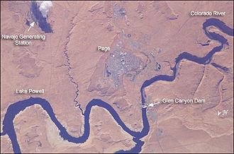 Page, Arizona - Satellite photo showing Page, Lake Powell, Glen Canyon Dam, Navajo Generating Station and Colorado River