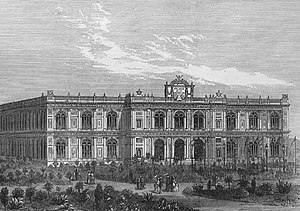 Palacio de la Exposición - Engraving of 1872 showing Frenchified neoclassical architecture of the main facade of the Palacio de la Exposición of Lima.