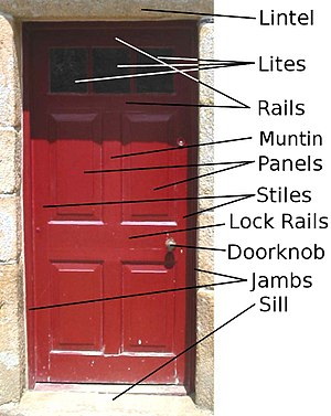 Jamb - A diagram of a door, with the jambs labeled.