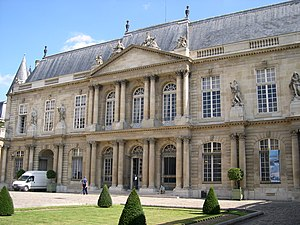 Landmarks in Paris - The National Archives building of the Museum of French History,