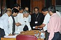 Pawan Kumar Bansal and other dignitaries during the counting of votes for the Vice Presidential Election, at Parliament House, in New Delhi on August 07, 2012.jpg