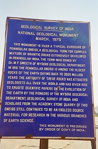 Peninsular Gneiss - Plaque gives history of the Lalbagh and the monument