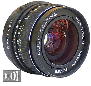 Prime lens - A 29mm prime lens accompanied by a diagram of its internal lens elements.