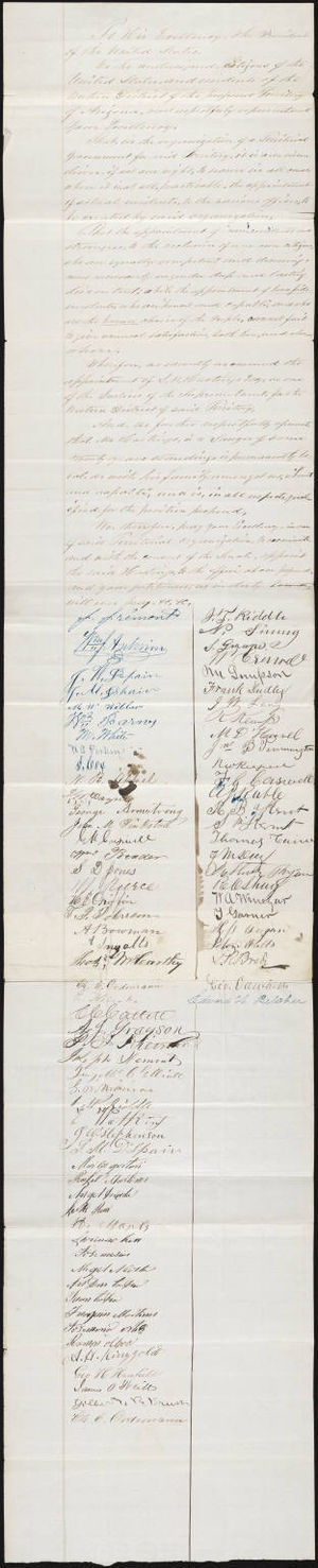 Lansford Hastings - Petition to President Abraham Lincoln by citizens of Arizona, as well as John C. Frémont, seeking an appointment for Lansford Hastings. Ca. 1863.