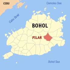 Map of Bohol showing the location of Pilar