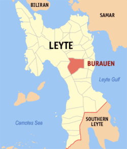 Map of Leyte with Burauen highlighted
