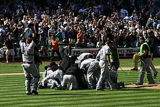 Philip Humber's perfect game - Humber being swarmed by teammates after the perfect game, the first of two to be pitched at Safeco Field in the 2012 MLB season.