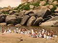 Pilgrims Bathe in the Tungabhadra River - Near Hampi - India.JPG
