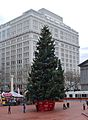 Pioneer Courthouse Square Christmas tree with Meier & Frank Bldg.jpg