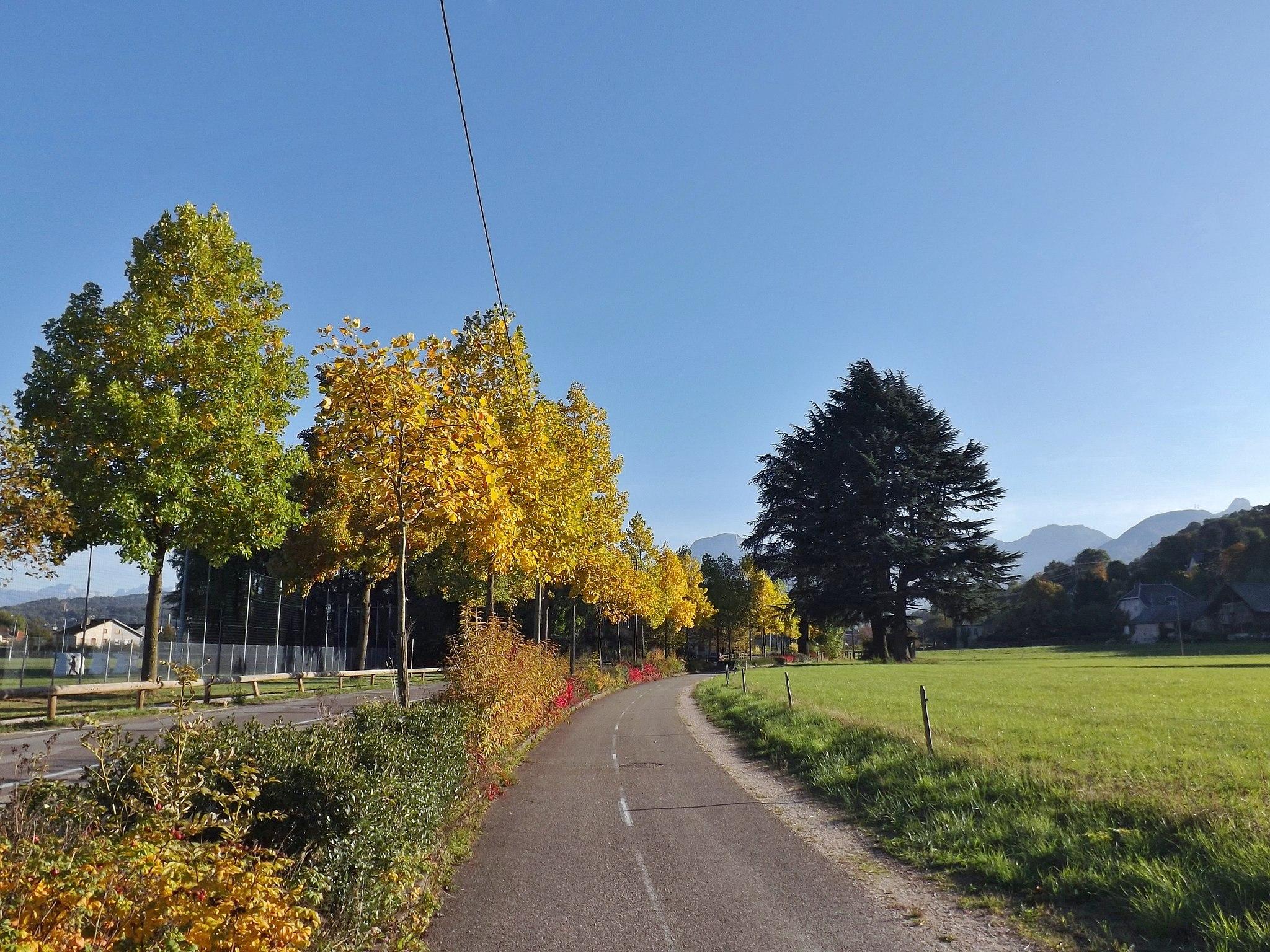 Piste cyclable entre la Croix de Bissy et la Labiaz en automne (2016)