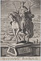 Plate 4- equestrian statue of Caligula, seen three-quarters to the left, wearing a winged helmet and holding double-headed arrows, a military scene in the background, from 'Roman Emperors on Horseback' MET DP877293.jpg