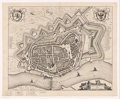 Plattegrond van Deventer Daventria vulgo Deventer (titel op object), RP-P-AO-3-43B