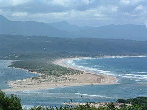 Plettenberg Bay - Keurbooms River mouth at Plettenberg Bay viewed from the west