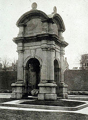 The 1867 structure that housed (part of) Plymouth Rock until 1920.  The gates were added after construction in response to souvenir hunters.