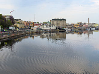Podil - A view of the modern Podil neighborhood, in a center is a river port in front of the Fairmont Grand Hotel