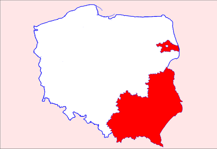 Map of Poland, LGBT-free zones declared (as of August 2019) on a voivodeship or powiat level marked in red. Poland LGBT zones July 2019 Counties and Provinces.png