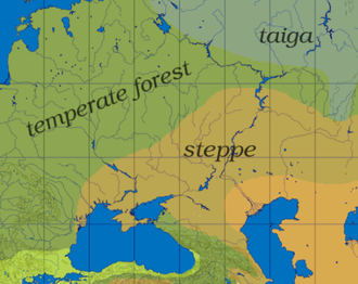 Pontic–Caspian steppe - The steppe extends roughly from the Dniepr to the Ural or 30° to 55° east longitude, and from the Black Sea and the Caucasus in the south to the temperate forest and taiga in the north, or 45° to 55° north latitude.