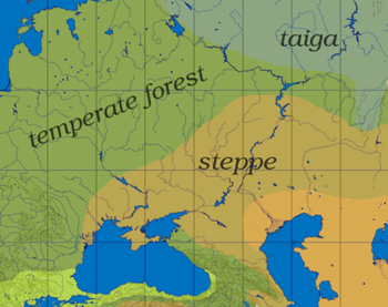 The wider area of the Urals, showing the trans...
