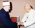 Pope John Paul II and Grand Mufti Mustafa Cerić in Bosnia and Herzegovina, 1997.jpg