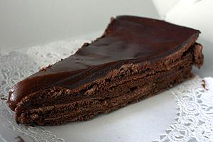 Slice of a chocolate cake.