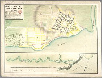 Siege of Port Royal (1710) - Military engineer's drawing of Port Royal, 1702