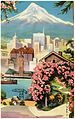 Portland, Oregon, and Mt. Hood, famous for its annual June Rose Festival is Portland, Oregon, with its fresh water world harbor on the Willamette River and Mt. Hood towering beyond (63664).jpg
