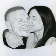 Hand-drawn portrait of a man and woman smiling.