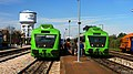 Portuguese Railways 0355 and 0367 railcars at Torre das Vargens Railway Station.jpg