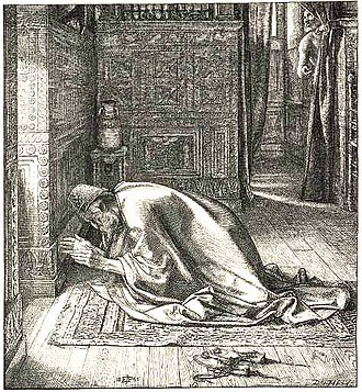Prayer in the Hebrew Bible - Relief print of Daniel's prayer by Edward Poynter, 1865. Daniel 6 describes how Daniel prayed even though threatened with death, while Daniel 9 records a prayer that he prayed.
