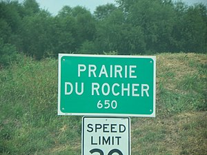 Prairie du Rocher, Illinois - Image: Prairie du Rocher, Illinois, road sign