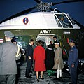 President John F. Kennedy, First Lady Jacqueline Kennedy, Prime Minister of India Jawaharlal Nehru, and Indira Gandhi Depart for the White House (color).jpg
