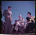 Presidential candidate Dwight Eisenhower and his wife, Mamie Eisenhower, seated at a campaign event.jpg