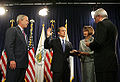 Preston being sworn in as HUD Secretary by Bolten.jpg